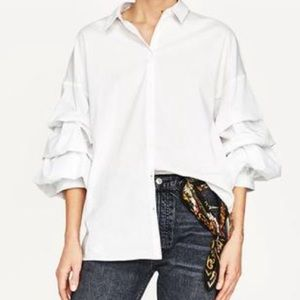 Zara White Button Down With Ruffle Sleeve - XS